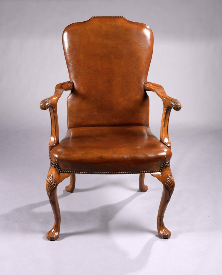 Fine Set of 8 '6 & 2' Generously Sized Antique Walnut and Leather Dining Chairs For Sale 6