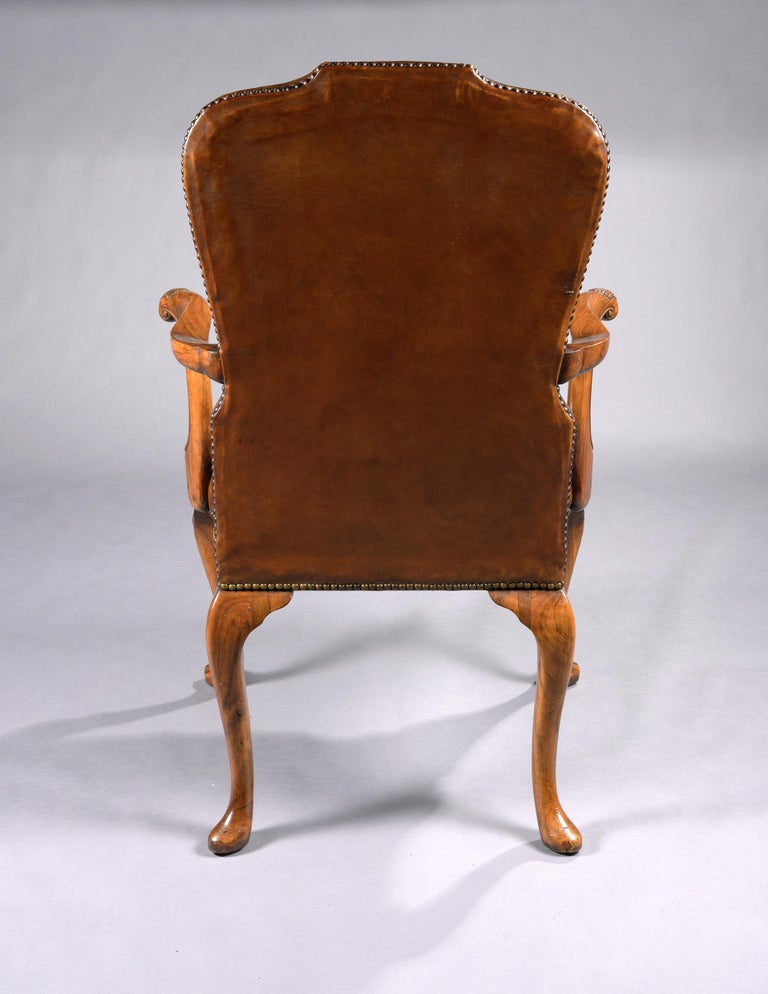 Fine Set of 8 '6 & 2' Generously Sized Antique Walnut and Leather Dining Chairs For Sale 10