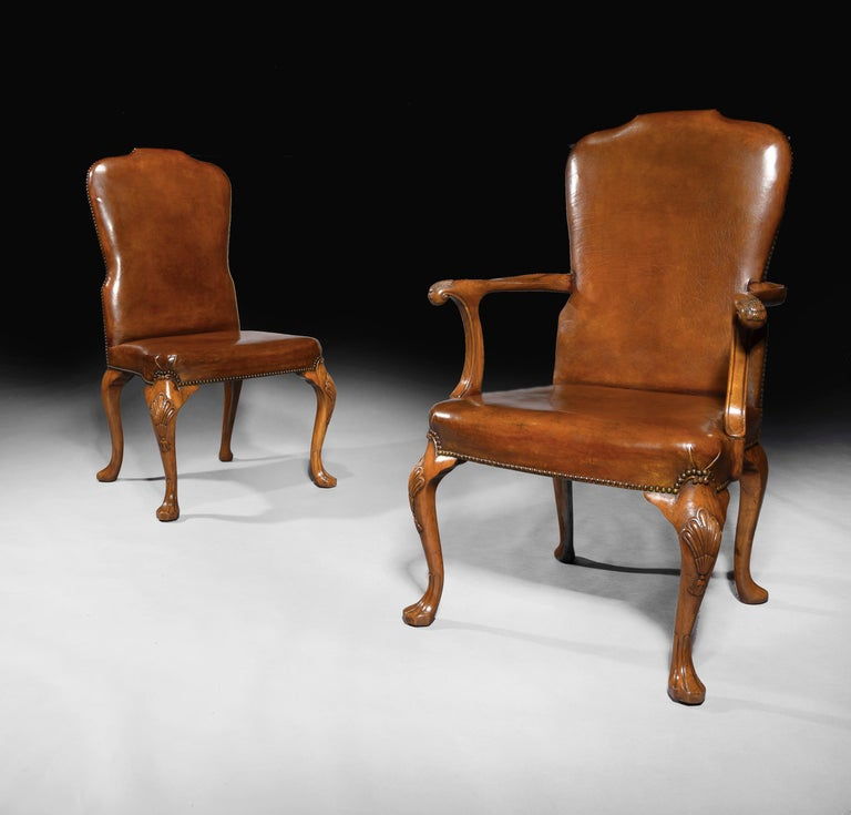 George II Fine Set of 8 '6 & 2' Generously Sized Antique Walnut and Leather Dining Chairs For Sale