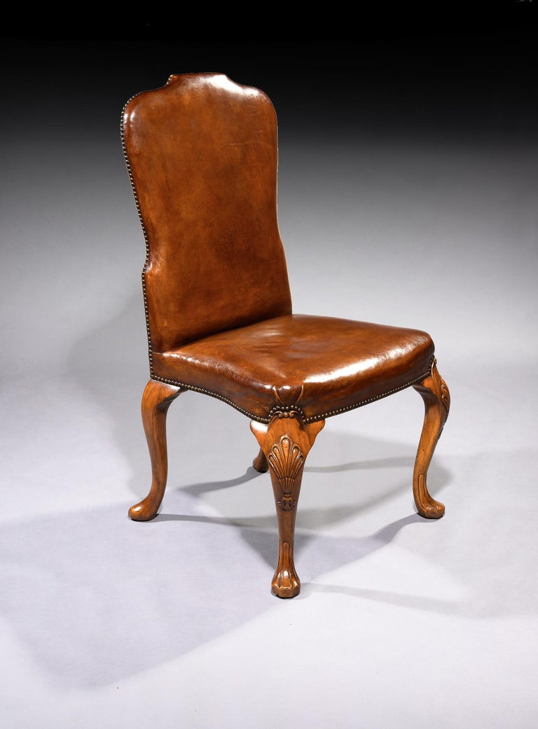English Fine Set of 8 '6 & 2' Generously Sized Antique Walnut and Leather Dining Chairs For Sale