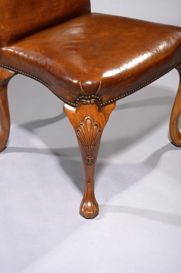 20th Century Fine Set of 8 '6 & 2' Generously Sized Antique Walnut and Leather Dining Chairs For Sale