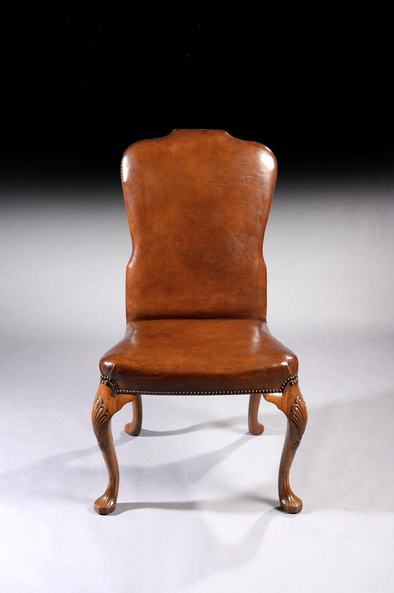 Fine Set of 8 '6 & 2' Generously Sized Antique Walnut and Leather Dining Chairs For Sale 3