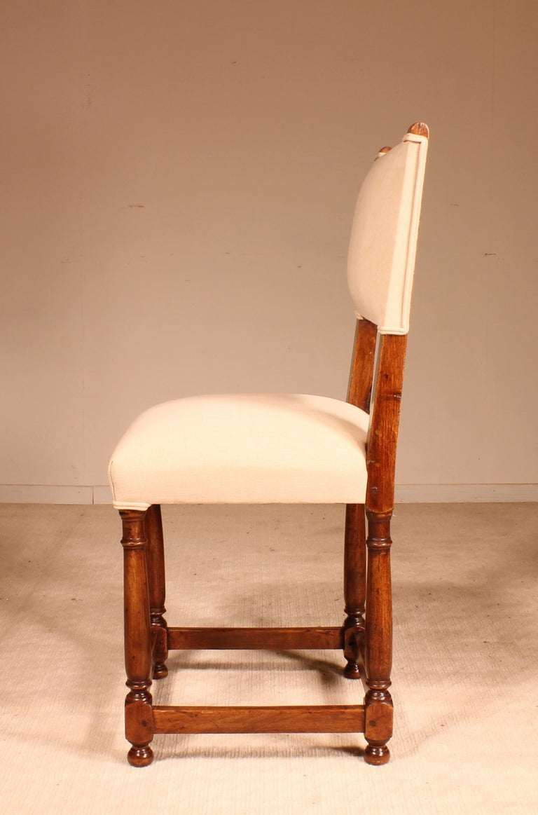 20th Century Fine Set of 8 Chairs Louis XIII Style in Walnut For Sale