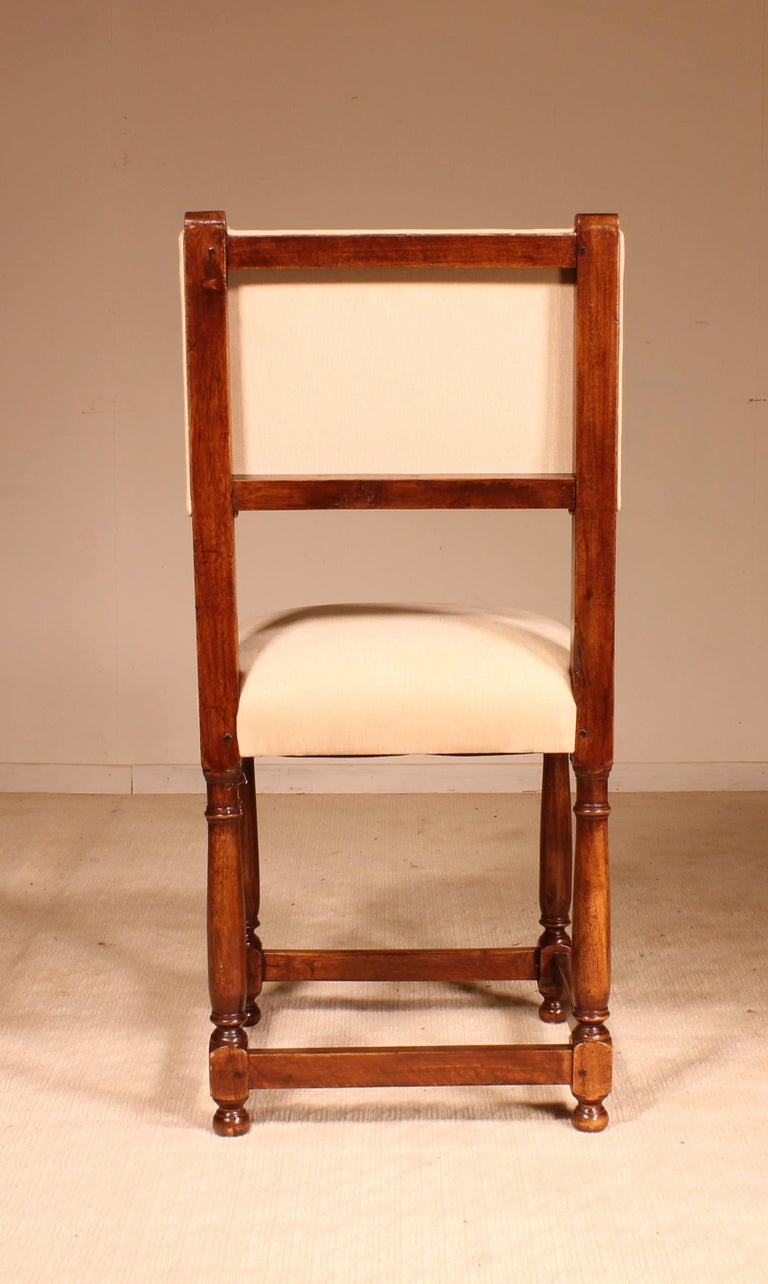 Fine Set of 8 Chairs Louis XIII Style in Walnut For Sale 1