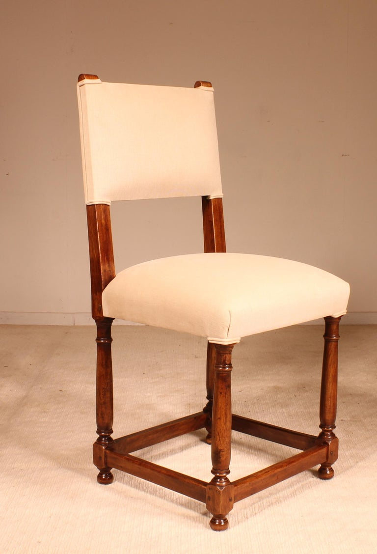 Fine Set of 8 Chairs Louis XIII Style in Walnut For Sale 2