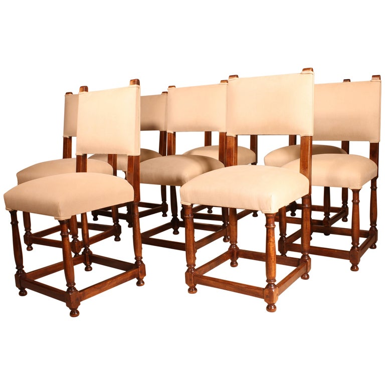Fine Set of 8 Chairs Louis XIII Style in Walnut For Sale