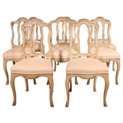 Fine Set of 8 Chairs Louis XV Style Original Polychromy