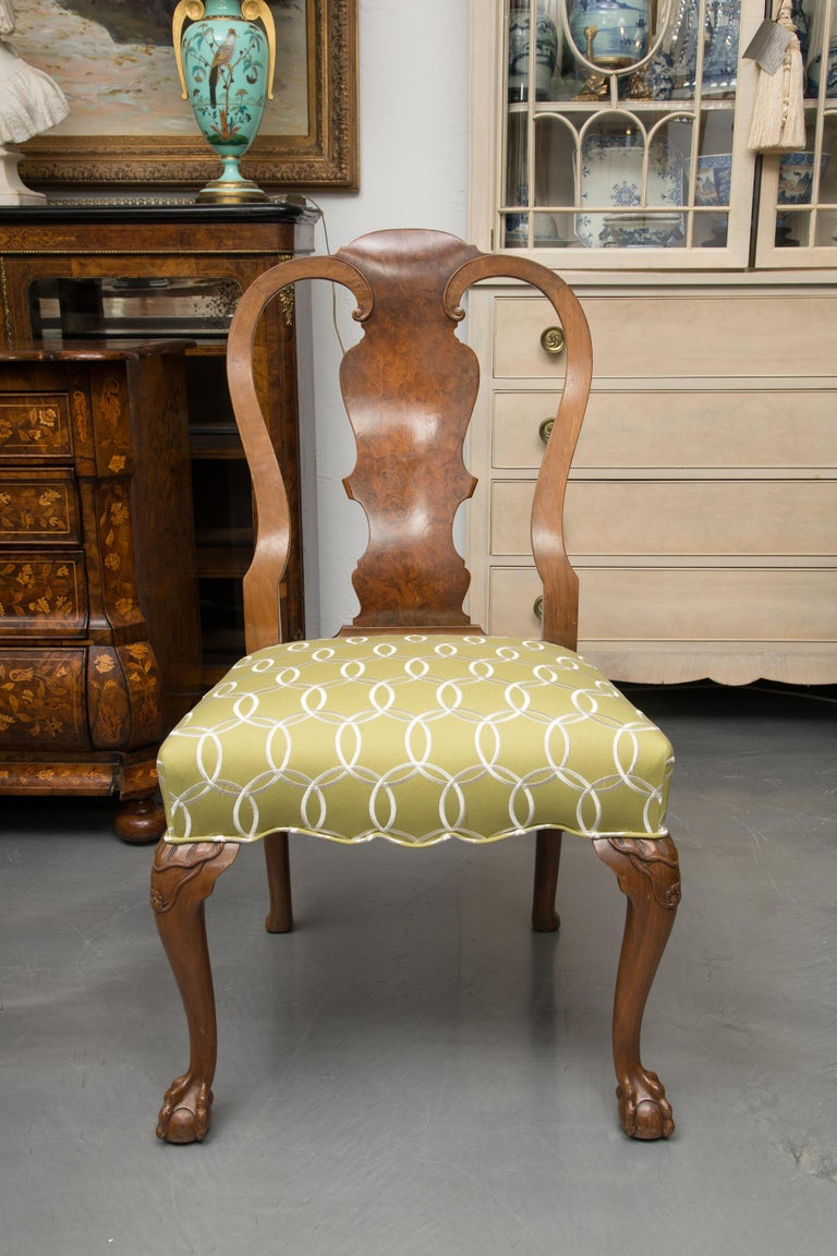 Fine Set of Eight, Queen Anne Style Walnut Dining Chairs For Sale 6