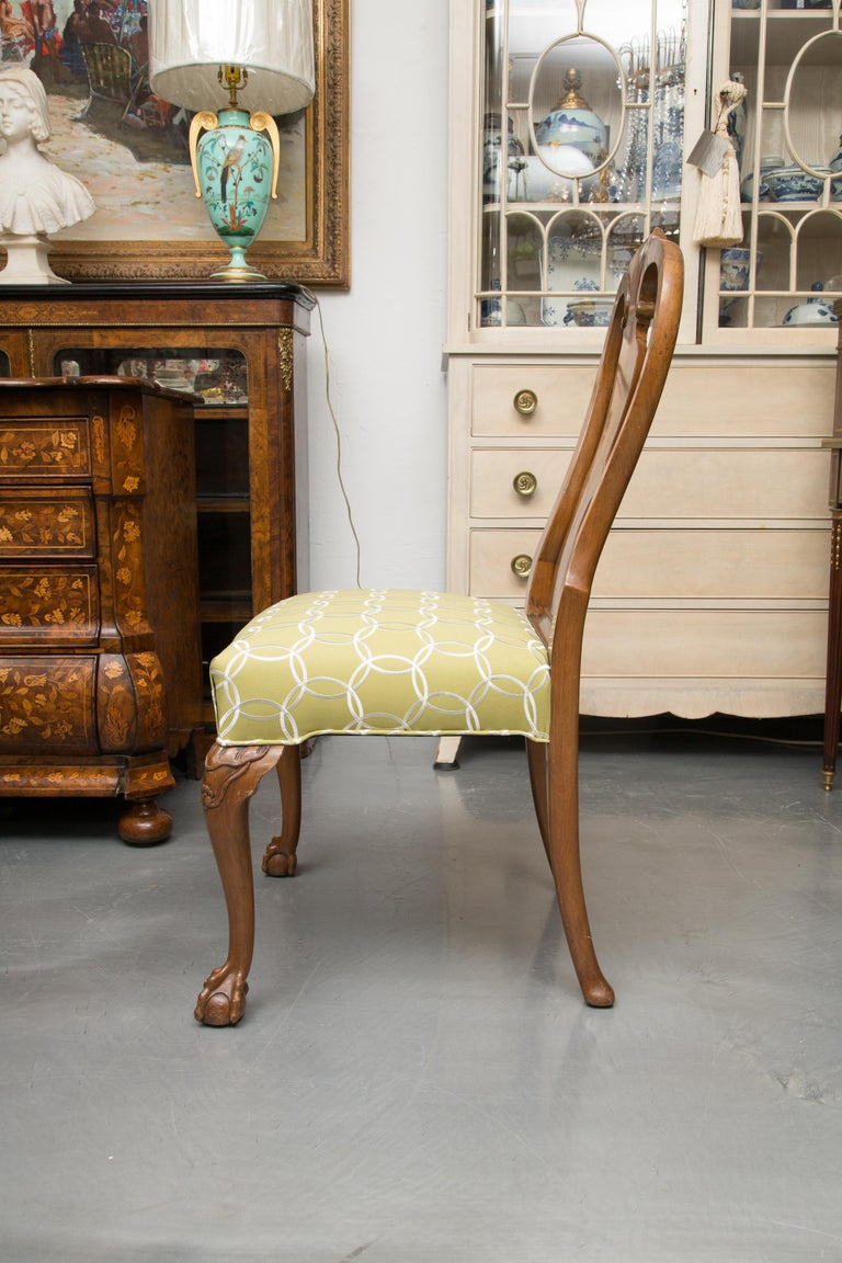 Hand-Carved Fine Set of Eight, Queen Anne Style Walnut Dining Chairs For Sale