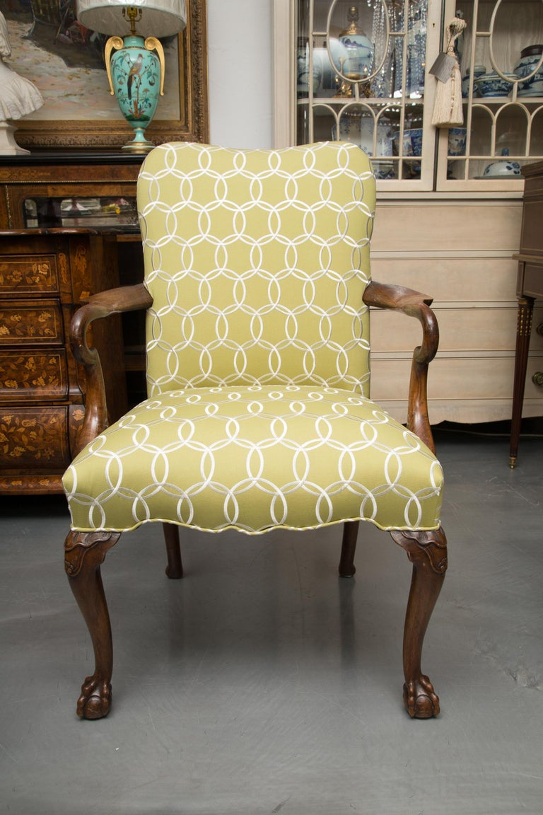 Upholstery Fine Set of Eight, Queen Anne Style Walnut Dining Chairs For Sale