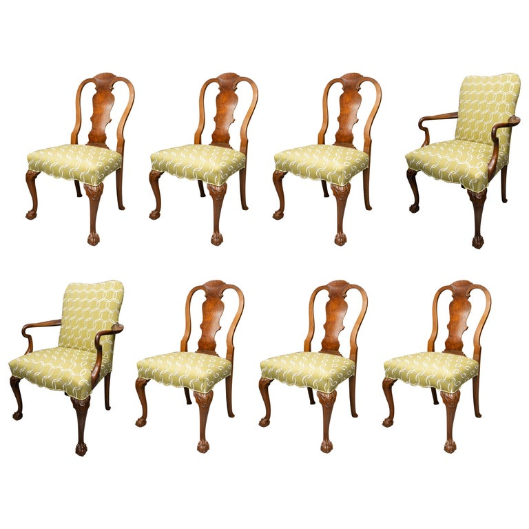 Fine Set of Eight, Queen Anne Style Walnut Dining Chairs For Sale