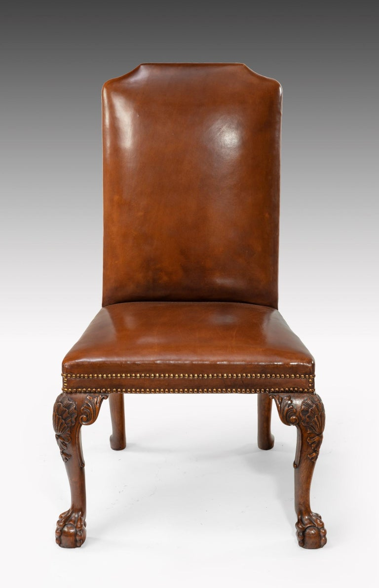 Fine Set of Eight Walnut and Leather Cabriole Leg Dining Chairs Queen Anne Style For Sale 5