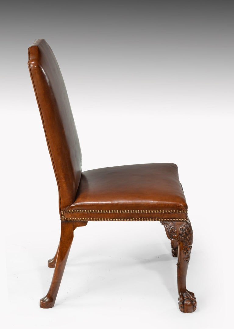Fine Set of Eight Walnut and Leather Cabriole Leg Dining Chairs Queen Anne Style For Sale 6