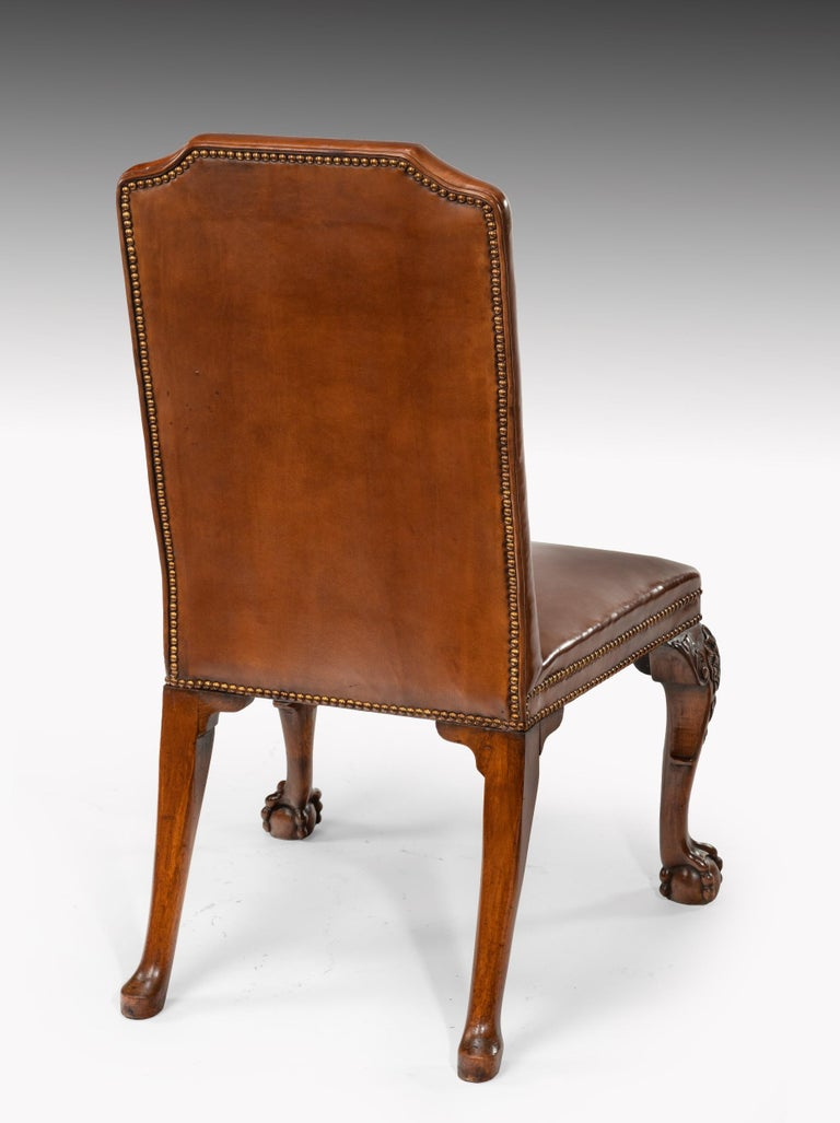 Fine Set of Eight Walnut and Leather Cabriole Leg Dining Chairs Queen Anne Style For Sale 7