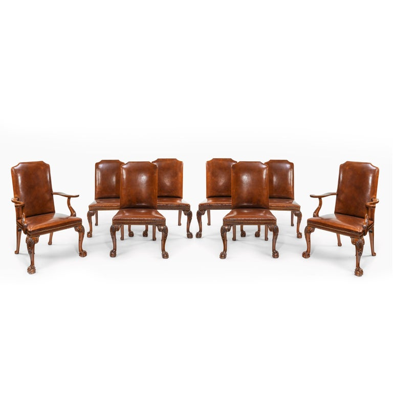 Fine Set of Eight Walnut and Leather Cabriole Leg Dining Chairs Queen Anne Style For Sale 8
