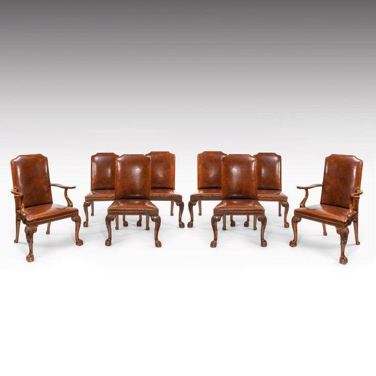 Fine Set of Eight Walnut and Leather Cabriole Leg Dining Chairs Queen Anne Style For Sale 9