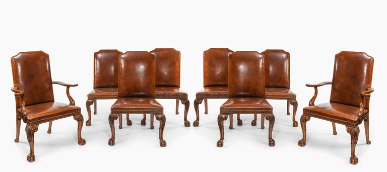 English Fine Set of Eight Walnut and Leather Cabriole Leg Dining Chairs Queen Anne Style For Sale