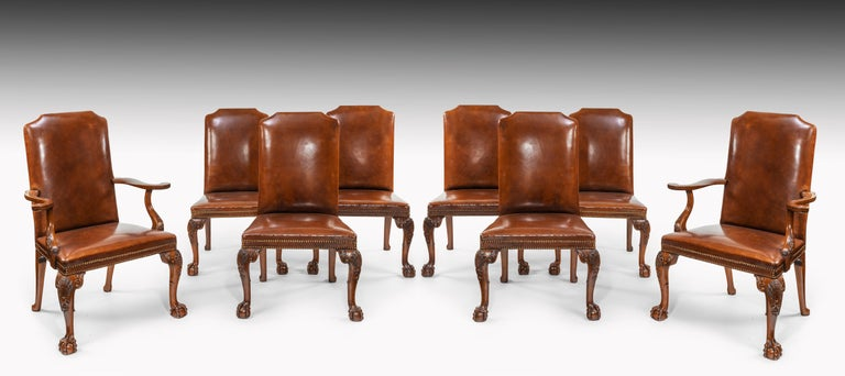 Hand-Carved Fine Set of Eight Walnut and Leather Cabriole Leg Dining Chairs Queen Anne Style For Sale