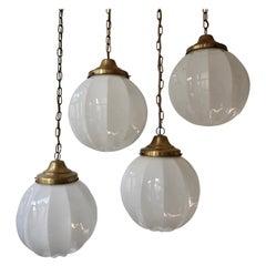 Fine Set of Four Art Deco Opaline Glass Pendants