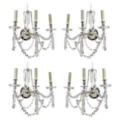 Fine Set of Four English Cut-Glass Wall Sconces