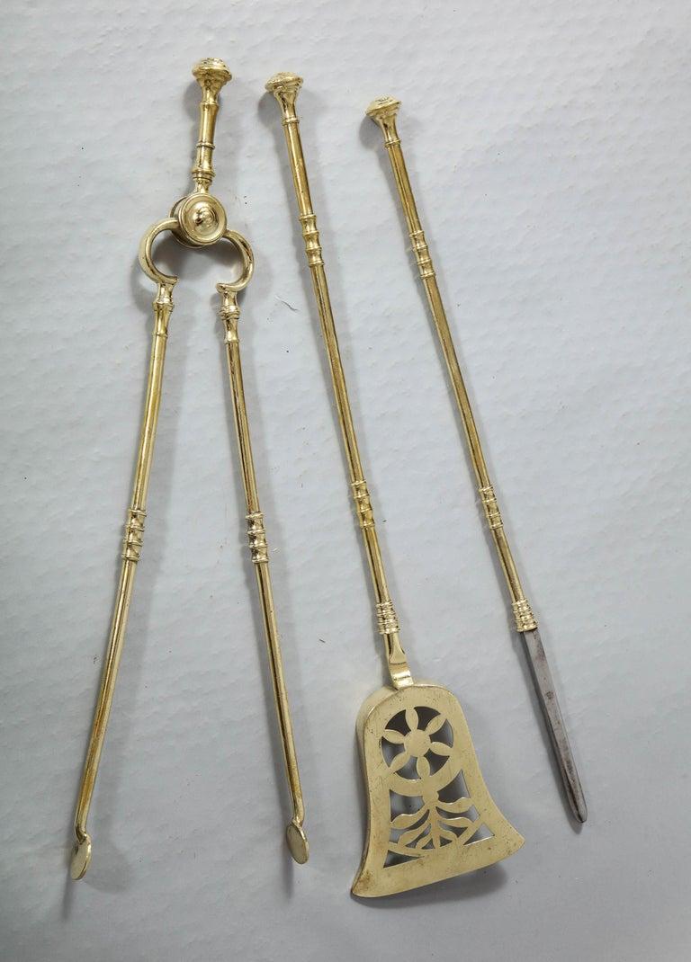 19th Century Fine Set of Regency Brass Fire Tools