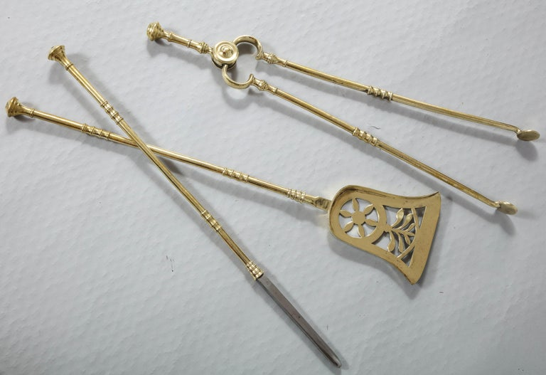 Fine Set of Regency Brass Fire Tools 1