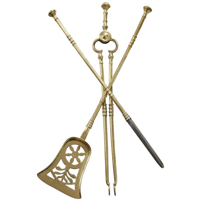 Fine Set of Regency Brass Fire Tools