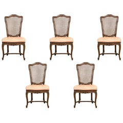 Fine Set of Six Attributed Auffray French Country Cane Side Chairs