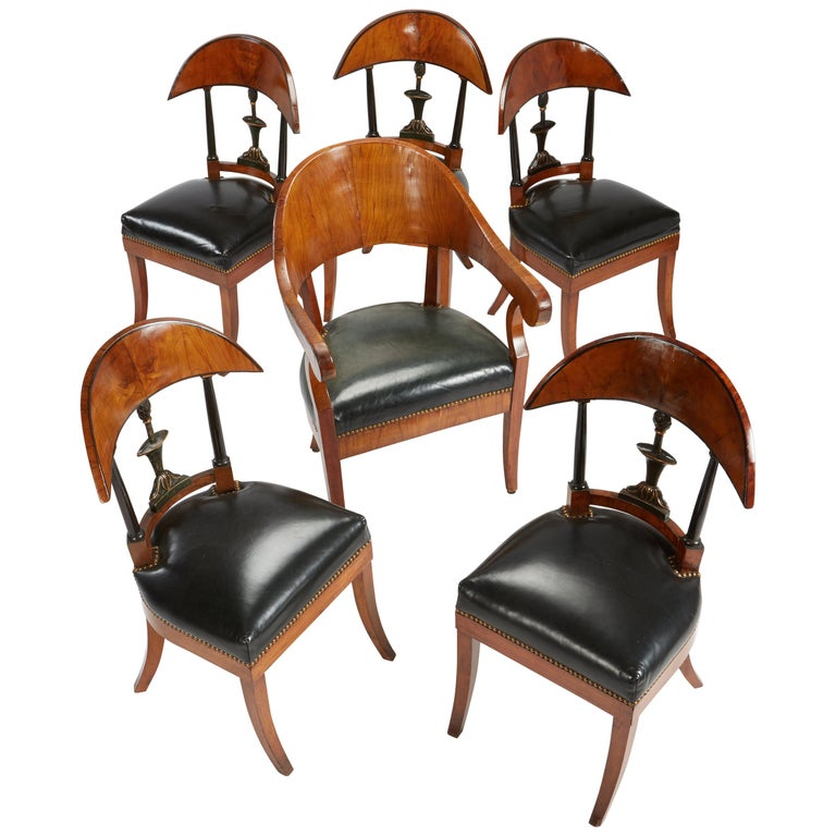 Fine Set of Six Austro-Hungarian Biedermeier Fruitwood Chairs with Leather Seats For Sale