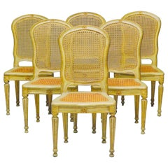 Fine Set of Six Italian, 18th Century Painted and Parcel-Gilt Chairs