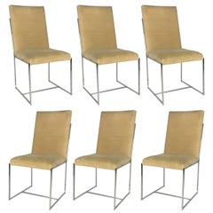 Fine Set of Six Milo Baughman Style Dining Chairs