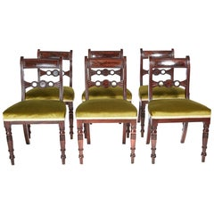 Fine Set of Six Regency Antique Mahogany Dining Chairs