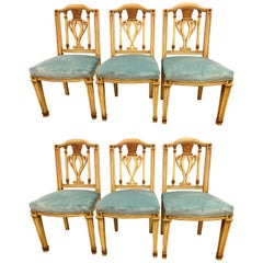 Fine Set of Six Regency Painted Dining Chairs in the Manner of Maison Jansen
