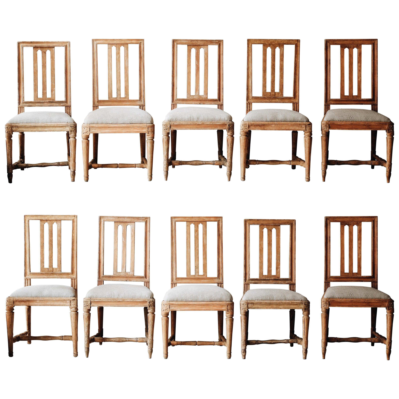 Fine Set of Ten 19th Century Gustavian Chairs