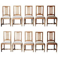 Fine Set of Ten 19th Century Gustavian Chairs