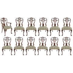 Fine Set of Twelve Well Carved Georgian Style Mahogany Dining Chairs