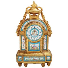 Fine Sevres Porcelain Blue Celeste and Ormolu Mounted Mantel Clock