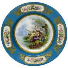 Fine Sevres Style Hand Painted Celeste Blue Circular Cabinet Plate or Dish
