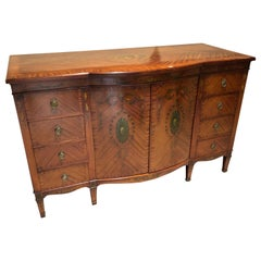 Fine Sheraton Revival Satinwood Adams Style Painted Bow Front Buffet Sideboard