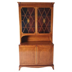 Fine Sheraton Revival Satinwood Collectors Cabinet/Bookcase