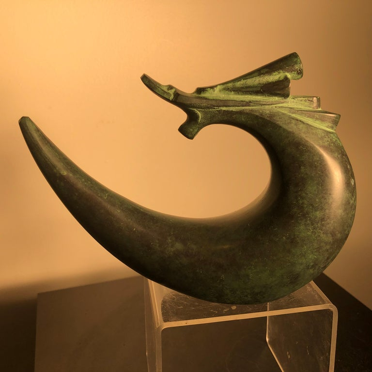 Fine Signed Hand Cast Bronze Dragon Sculpture, Important Artist from Old Japan For Sale 6