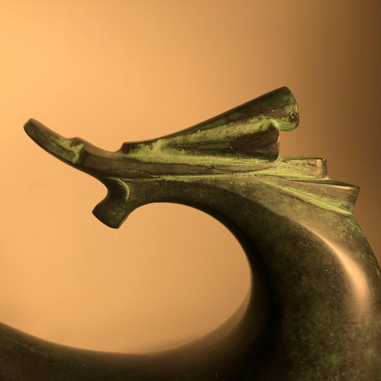 Showa Fine Signed Hand Cast Bronze Dragon Sculpture, Important Artist from Old Japan For Sale