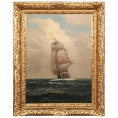 Fine Signed Painting of a Tall Sailing Ship James Gale Tyler