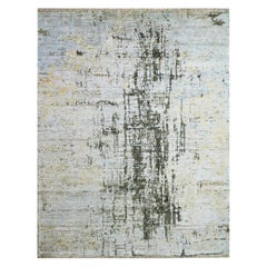 Fine Silk and Wool Modern Abstract Design Contemporary Rug