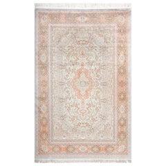 Fine Silk Vintage Qum Persian Rug.Size: 6 ft 6 in x 9 ft 11 in (1.98 m x 3.02 m)