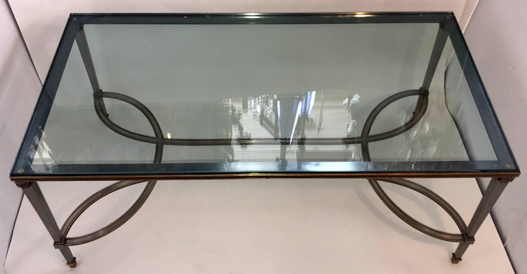 Fine Silver Bronze Beads Bagues Cocktail Coffee Table Glass Top Jansen Accent In Good Condition For Sale In Roslyn, NY