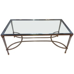 Fine Silver Bronze Beads Bagues Cocktail Coffee Table Glass Top Jansen Accent