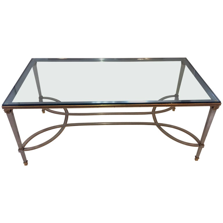 Fine Silver Bronze Beads Bagues Cocktail Coffee Table Glass Top Jansen Accent For Sale