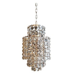 Fine Silver Modern Art Deco Chandelier Crystal Lustre Ceiling Lamp Hall Antique