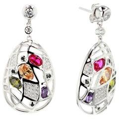 Fine Silver Multicolored Rhodium Palladium Plating Earrings by Feri